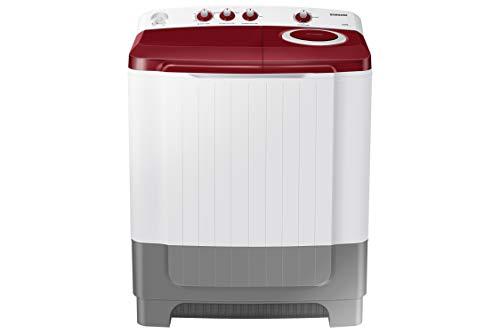 Samsung 8.0 Kg Semi-Automatic 5 Star Top Loading Washing Machine (WT80R4000RG/TL, Light Grey, Wine Red Lid (Opaque), Hexa Storm Pulsator)