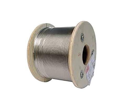 Alambre Cuerda Acero inoxidable V4A (AISI 316) 2mm–3mm (250m en rollo) flexible suave 7x 19DIN 3060nominal fijo rigidez la hebras beträgt 1570N/mm2, 2mm (250m), 1