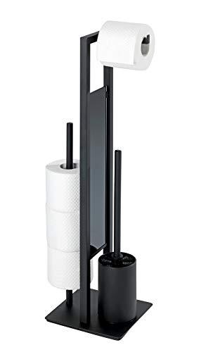 WENKO Juego de pie para el WC Rivalta negro mate - Portaescobillas para el WC, Acero, 18 x 70 x 23 cm, Negro