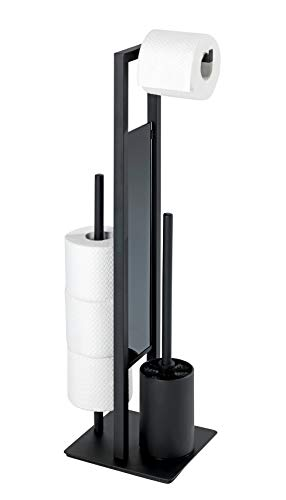 WENKO Stand WC-Garnitur Rivalta, mit integriertem Toilettenpapierhalter und WC-Bürstenhalter, lackierter Stahl, 23 x 70 x 18 cm, Schwarz matt