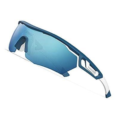 TOREGE Polarized Sports Sunglasses with 3 Interchangeable Lenes for Men Women Cycling Running Driving Fishing Golf Baseball Glasses TR05 (Matte Blue&White& Light Blue Lens)