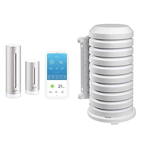 Netatmo NWS01-EC Stazione Meteo con Sensore Esterno Wireless, Compatibile con Amazon Alexa e Apple HomeKit & Protezione Tfa per Trasmettitore Esterno 98.1114.02