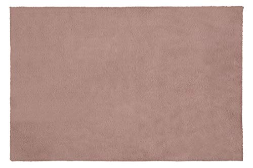 Eurofirany Decoratieve tapijt, deurmat, tapijtloper, loper, badmat, woonkamer, slaapkamer, keuken, rechthoekig, imitatiebont, zacht, donkerroze, 50 x 70 cm