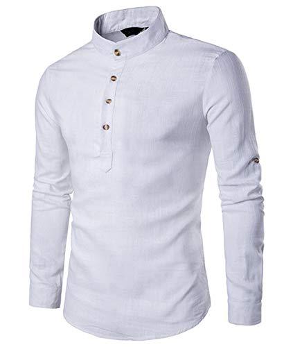 Cyiozlir Herren Leinenhemd leinen Langarmshirt Stehkragen Hemden mit Knopfleiste Slim fit Henley Shirt (weiß,Large)