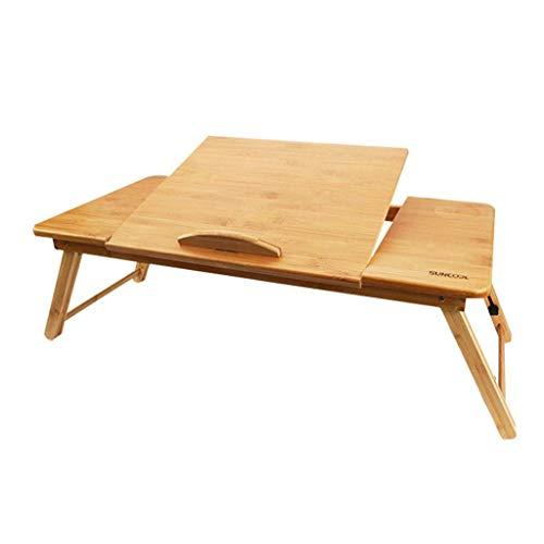 Household Simple Storage Table/Plateau Portable Tour en Bambou avec des Pieds réglables Petit-déjeuner Pliable Service lit Plateau Lap Desk INCLINABLE Top Laptop Stand (Color : A)
