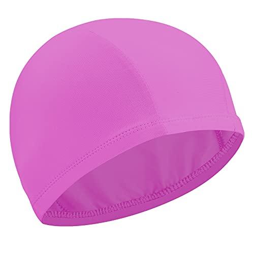 Cuffia da Nuoto Elastica Cuffia da Nuoto Cuffia da Piscina Antiscivolo Cuffia da Nuoto in Nylon Flessibile per Donna Uomo Giovane Adulti Nuotare Bagno (Rosa)