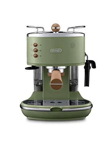 De'Longhi Icona Vintage Espresso Siebträgermaschine KBOV2001.GR - mit professioneller Milchaufschäumdüse, 15 bar, 1,4 l, auch für Pads geeignet, Edelstahl in Retro Look mit Chrom-Details, grün