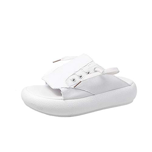 B/H Zapatillas de baño para el hogar,Sandalias Antideslizantes de Fondo Suave de Verano, Zapatillas Gruesas de Muffin con Plataforma para Mujer-White_36
