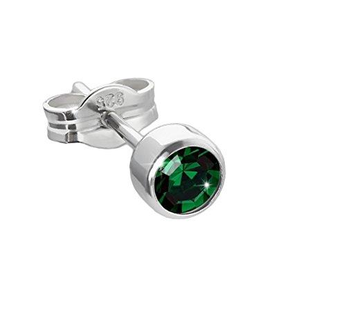 NKlaus pendientes de plata 925 4,50mm verde oscuro zirconia damas hombres niños 6661
