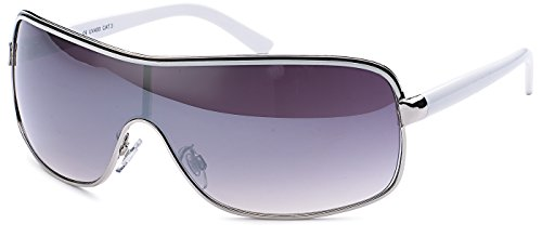 FEINZWIRN Designer Sonnenbrille mit Monoscheibe und Verlaufsglas Damen Herren Unisex Sonnenbrillen (Weiss)
