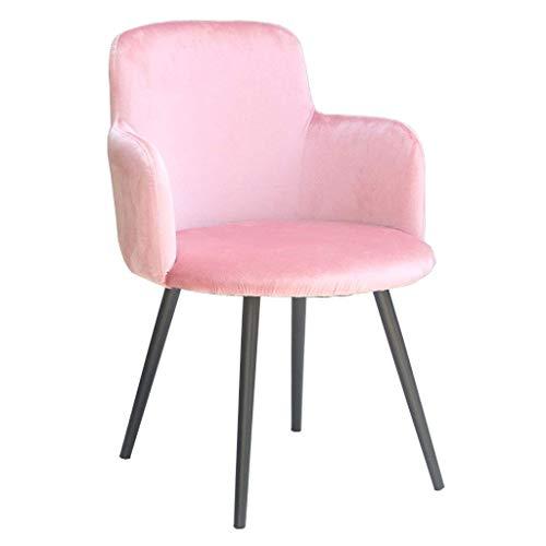 Silla de Comedor de Arte de Hierro nórdico, sillón de Terciopelo con Patas de Metal Negro/Respaldo Ancho, (Rosa) | Código de Productos básicos: LJW-258