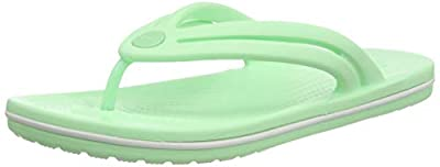 Crocs Women's Crocband Flip Flop | Slip On Water Shoes | Casual Summer Sandal, Neo Mint, 10 M US