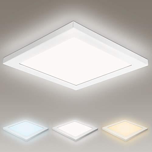 Hengda 24W LED Deckenleuchte Ultradünne Deckenlampe Ø30CM, Farbtemperatur Umschaltbar Neutralweiß Kaltweiß Warmweiß, IP44 Quadrat Flurlampe für Bad Küche Flur Schlafzimmer Balkon Korridor