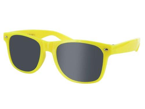 Alsino Nerd Brille ohne Stärke Karneval Rockabilly Fasching Nerdbrille Sonnenbrille Fake Schwarz Hornbrille für Kostüm Fakebrillen Accessoires Modebrille Vintage Lehrerin (gelb)