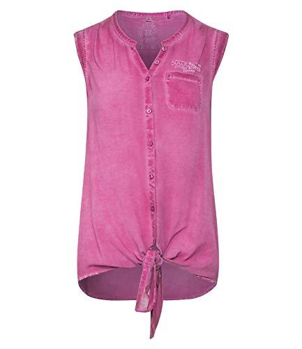 SOCCX Damen Ärmellose Bluse mit Knotensaum
