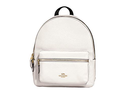 COACH Pebbled Leather Medium Charlie Backpack Chalk One Size