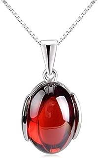 925 Silver Pomegranate Red Corundum Pendant Fashion Necklace New