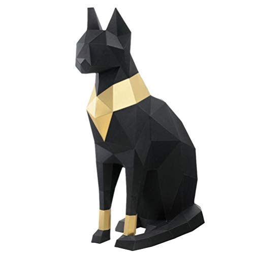 Garneck 3D Paper Model Egyptian Cat Geometric Origami Paper Craft Building Puzzle Fold Paper for DIY Papercraft Decoration (Black Golden)