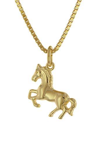 trendor Mädchen-Halskette mit Pferdchen Gold auf Silber 925 Pferde-Anhänger Kette für Kinder, Silberschmuck vergoldet, Tolle Geschenkidee 75715