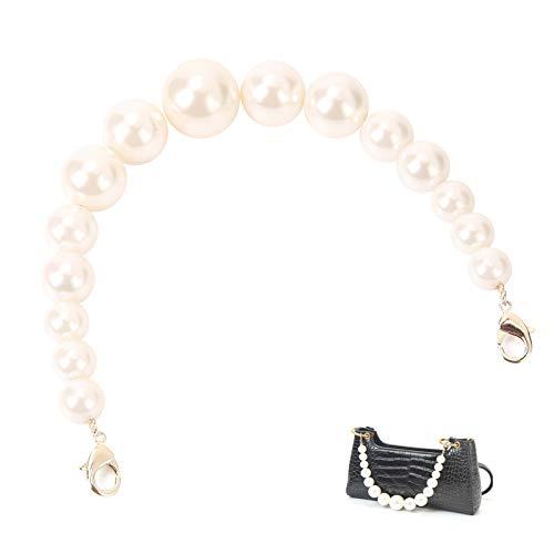Cute Pearl Purse Handle Strap Bag Chain Replacement,Handbag Purse Making Accessory Decoration (Gold)