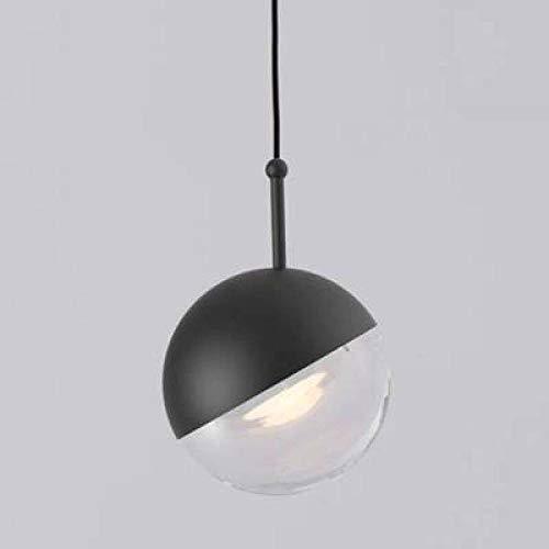 Kroonluchter van glas voor slaapkamer, eenvoudige gastronomie, creatieve persoonlijkheid, één kop, ronde glazen bol, voor enkele bal, zwart, 10 cm, met wit LED-licht