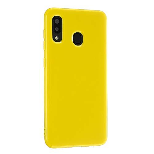 CrazyLemon Hülle für Samsung Galaxy A20e, Niedlich Volltonfarbe Klar Gelee Design Weich TPU Silikon Slim Dünn Handyhülle Stoßfest Schutzhülle - Gelb