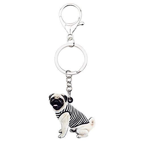 GPZEDCDB Schlüsselanhänger Schlüsselring Acryl Weste französische Bulldogge Mops Hund Schlüsselanhänger Ring niedlichen Tier Schmuck für Frauen Mädchen Teen Tasche Auto Geldbörse Charms