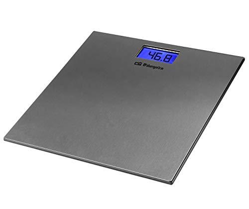 Orbegozo PB 2222 - Báscula de baño digital, superficie INOX, indicador de sobrecarga y batería baja, pantalla LCD, 150 kg capacidad max.