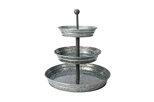Galvanized 3 Tier Serving Tray, Metal Tiered Serving Stand Decorative Cupcake Stand for Cake, Dessert, Appetizers, Fruits and More, Perfect for Indoor or Outdoor Decor, Farmhouse Kitchen Decor