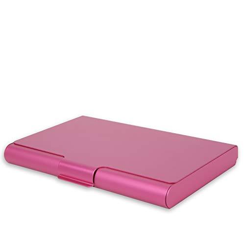 Portatarjetas de Visita Profesional de Metal de Aleación de Aluminio, Portatarjetas de Crédito Juego de Fundas de Protección contra Robo RFID para Hombres y Mujeres. (Rosa Roja)