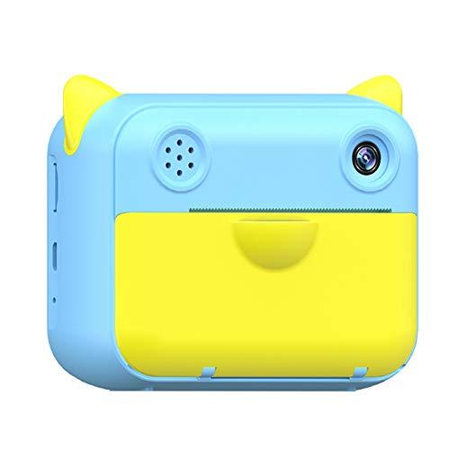 Domilay CáMara de ImpresióN InstantáNea HD 1080P con Papel FotográFico TéRmico CáMara de Video Digital CumpleaaOs para NiiOs - Azul