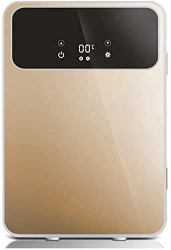 ewrwrwr Mini refrigerador de sobremesa Refrigerador portátil Refrigeración y calefacción 2 On1 Baja Potencia Bajo decibelio Doble núcleo 20L Dorado Inteligente CNC