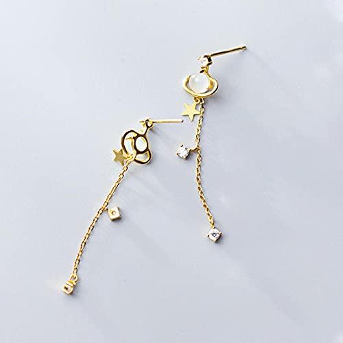 XCWXM Mode Planet Galaxy Opal Sterne Lange Tropfen Ohrringe 925 Sterling Silber Schaukel baumeln Ohrring für Frauen-Stil 2