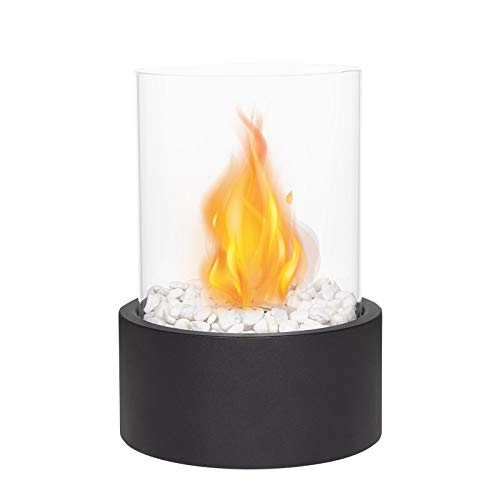 JHY DESIGN Tafelblad Fire Bowl Pot Binnen/buiten Draagbaar Tafelblad Open Haard-Clean-Burning Bio Ethanol Ventless Open haard (Extra groot Zwart)