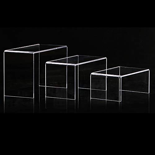 DEDC 3pcs Elevadores de Pantalla de Acrílico Transparente Soporte de Exhibición de Acrílico Tipo U Estante Accesorios de Escaparate para Joyas Bolsa Billetera
