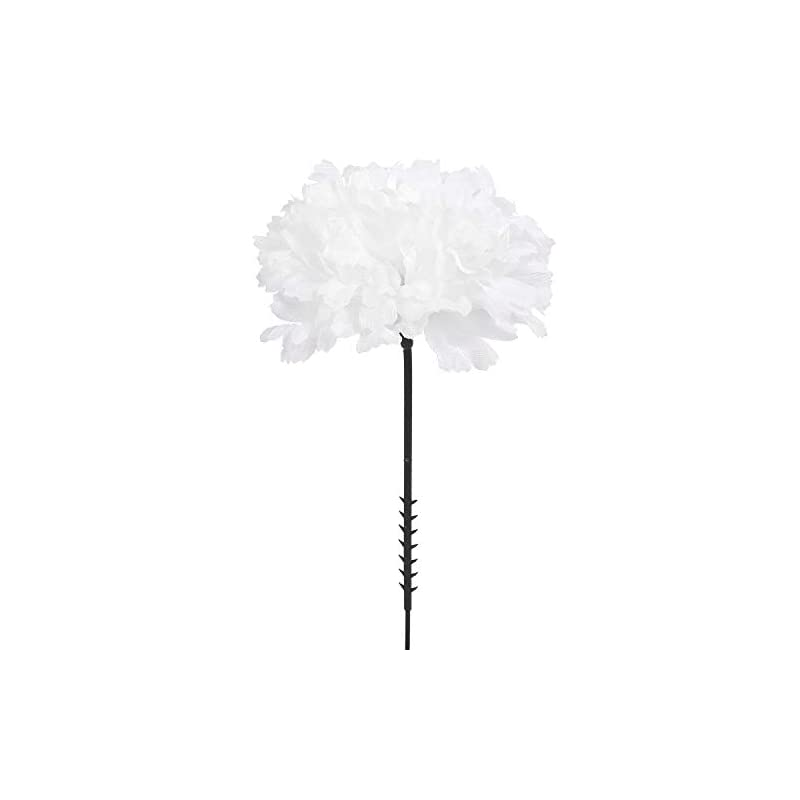 "silk flower arrangements larksilk cream white silk carnation picks, artificial flowers for weddings, decorations, diy decor, 50 count bulk, 3.5"" carnation heads with 5"" stems"