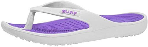 Eva, Damen-Flip-Flops mit Zehensteg, wasserdichte Badelatschen, - weiß / violett - Größe: EU 40/7 UK