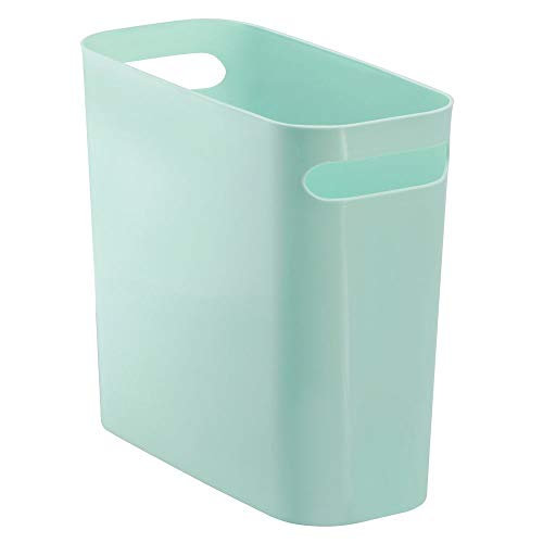 mDesign Slim Plastic Rectangular Small Trash Can Wastebasket, Garbage Container Bin with Handles for Bathroom, Kitchen, Home Office, Dorm, Kids Room - 10' High, Shatter-Resistant - Mint Green