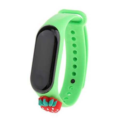 freneci Reloj de Pulsera Deportivo Casual Blanco LED Digital electrónico Color Caramelo Reloj de Pulsera de Silicona para niños - Verde