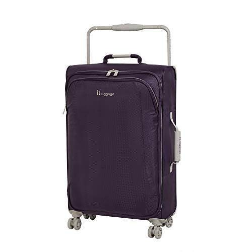 IT Luggage 27.6' World's Lightest 8 Wheel Spinner, Purple Pennant With Cobblestone Trim