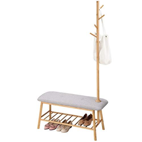 LANGRIA Perchero de bambú con banco de zapatos acolchado suave Cuenta con un estante de rejilla y 5 ganchos para chaquetas, bufandas, sombreros, hogar y oficina