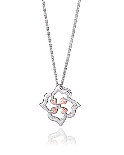 Clogau 925 Sterling Silver and 9ct Rose Gold Tree of Life Flower Pendant on a Chain of 56cm