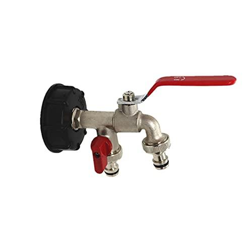 Rubeyul Adaptador de grifo IBC S60x6, válvula de repuesto de latón, conector de rosca, para depósito de agua S60X6
