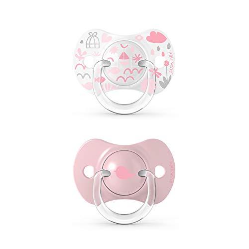 Suavinex, Confezione da 2 Succhietti con Tettina Simmetrica in Silicone SX Pro, per Bambini da 0 a 6 Mesi, Rosa