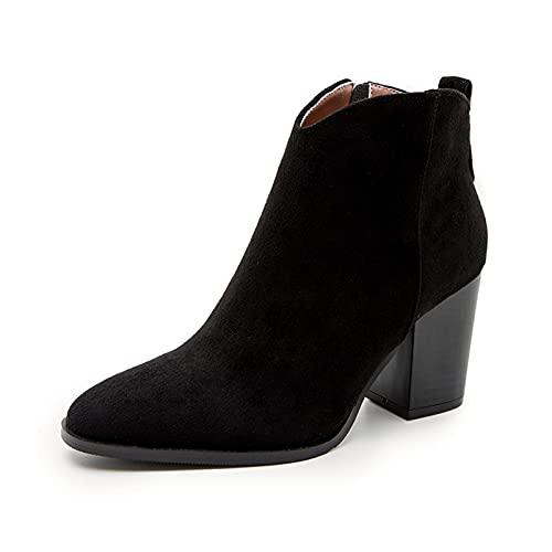 ZBYY Botines de tacón alto para mujer, con punta puntiaguda, tacón alto, con tacón grueso, tacón medio, botines
