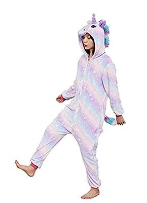 Pengmai Disfraz o pijama de unicornio para niños y jóvenes, unisex, de una sola pieza y con capucha, para dormir o para Halloween y otras celebraciones Adulte Étoile-9 L
