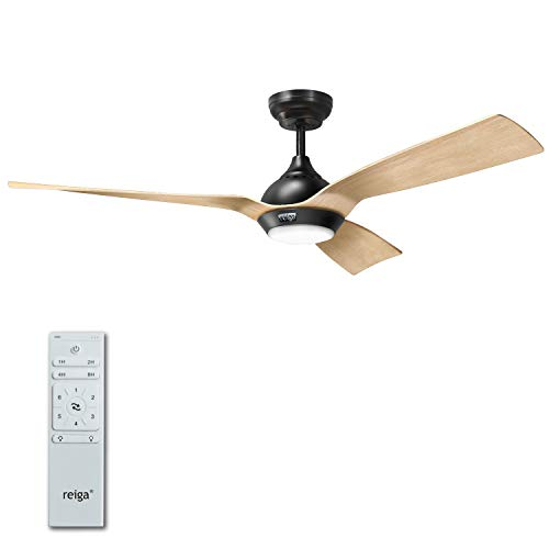 reiga 52-in Ceiling Fan with LED Light Kit Oak color