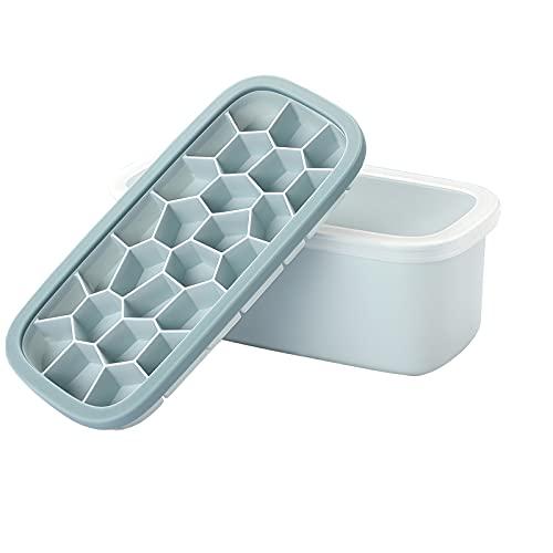 YUNYODA Cubiteras para Hielo, Molde de Hielo de Silicona con Tapa y Pala, Bandeja de hielo en forma Irregular, Fácil de desmoldar, 26 cubitos, con una caja de almacenaje de 1800ml,