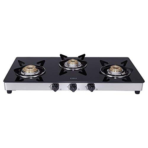 Elica Vetro Glass Top 3 Burner Gas Stove with Double Drip Tray...