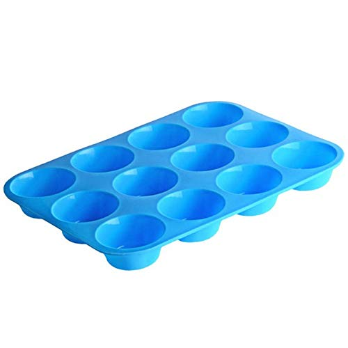 12 Cavity Silicone Cake Mold Muffin Cup Cake Bakeware Fondant Cupcake Muffin Mold Cookies Muffin Chocolate Mould Baking Tools (Color : Blue)